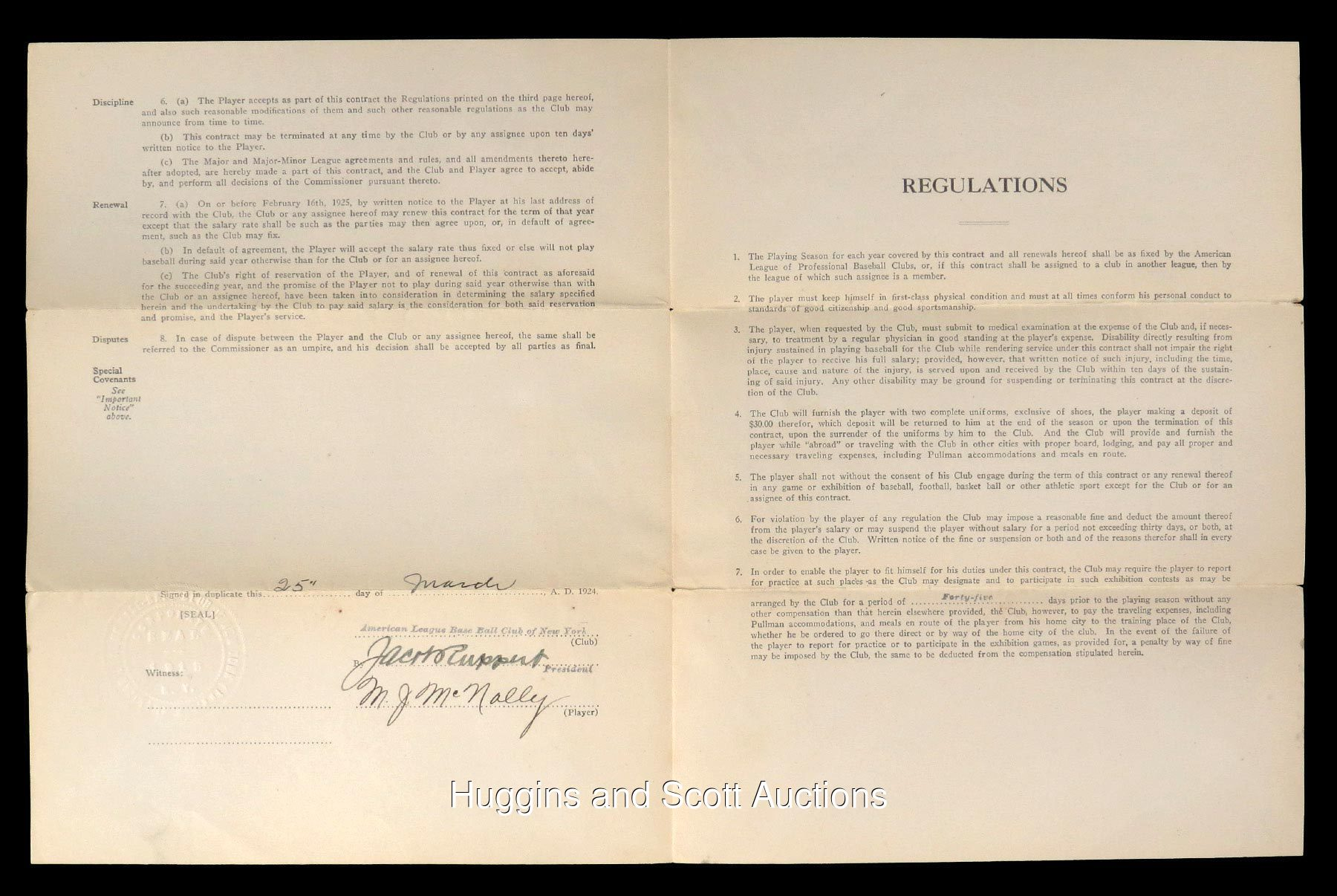 Mike McNally 1924 New York Yankees Player's Contract Signed